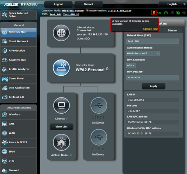 asus router firmware version rt-ac1200g