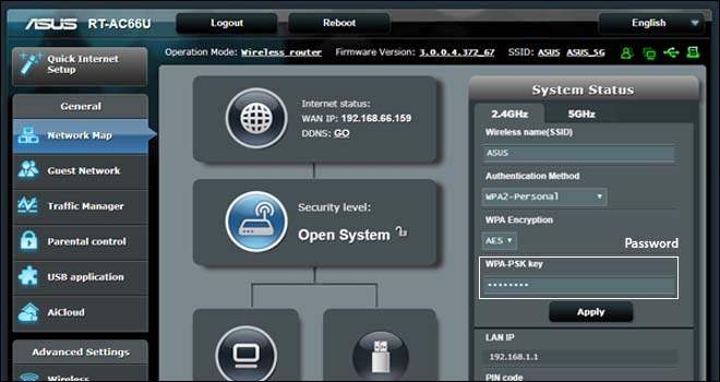 Reset Wireless Password of Asus Router