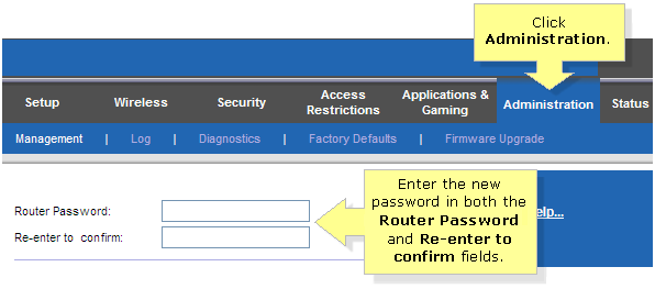 Change your Linksys router administrator password