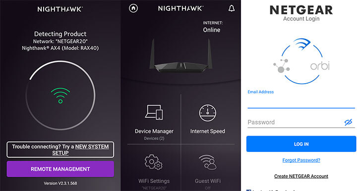 Login Netgear router using Nighthawk app