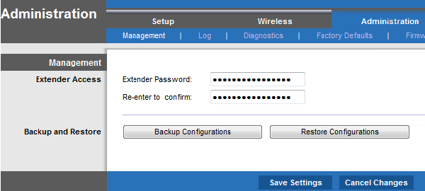 Change the Linksys extender's admin password