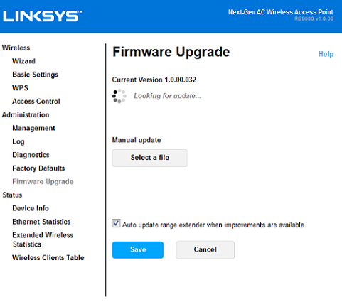 Steps to update the Linksys firmware