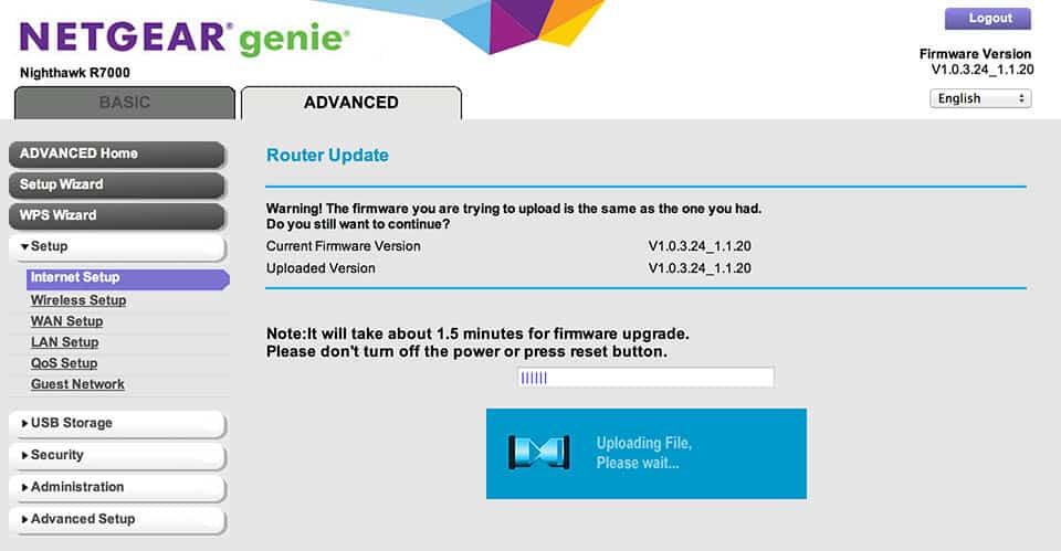Netgear Router Update via Web Interface